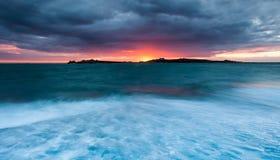 Guernsey-zonsondergang Royalty-vrije Stock Foto's
