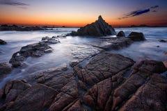 Guernsey-zonsondergang Stock Foto