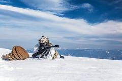 Guerra ártica das montanhas do inverno Imagem de Stock