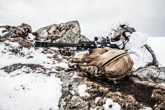 Guerra ártica das montanhas do inverno Foto de Stock Royalty Free