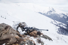 Guerra ártica das montanhas do inverno Fotografia de Stock Royalty Free