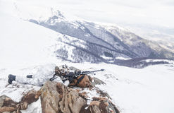 Guerra ártica das montanhas do inverno Imagens de Stock