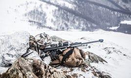 Guerra ártica das montanhas do inverno Fotografia de Stock