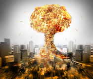 Guerra atómica nuclear foto de archivo