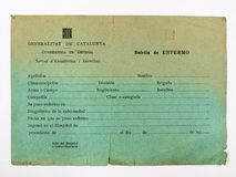 Guerra civil española Gobierno catalán, tarjeta de la enfermedad foto de archivo