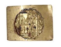 Guerra civil española Hebilla de latón original de los gudaris vascos imagen de archivo