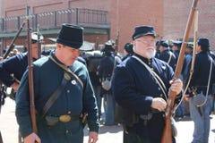 Guerra civil Reenactors Imagen de archivo libre de regalías