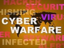 Guerra cyber che incide illustrazione di minaccia di attacco la 2d Fotografia Stock Libera da Diritti