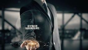 Guerra cyber con il concetto dell'uomo d'affari dell'ologramma Immagini Stock Libere da Diritti