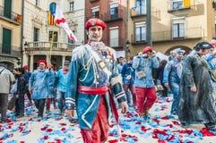 Guerra de la harina en Berga, España Imagen de archivo libre de regalías