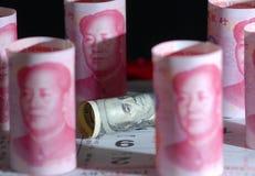 Guerra del dinero de China los E.E.U.U. Imagen de archivo libre de regalías