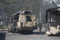 Guerra en la ciudad Kramators'k de Ucrania fotografía de archivo