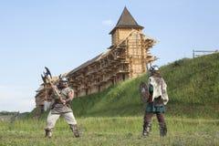 Guerra entre vikingos Imágenes de archivo libres de regalías