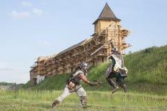 Guerra entre vikingos Fotos de archivo