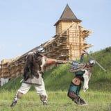 Guerra entre vikingos Imagenes de archivo