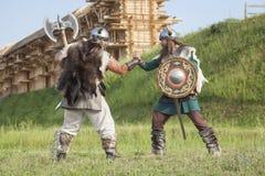 Guerra entre vikingos Imagen de archivo libre de regalías