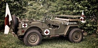 Guerra mondiale della jeep dell'esercito americano 2 Normandia 2015 Fotografia Stock