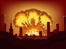 Guerra y daños después de la explosión grande en la ciudad Paisaje urbano monocromático con el cielo de la quemadura después de l stock de ilustración