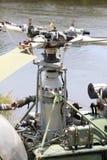Guerre du monde deuxièmes des pièces de moteur de rotor d'hélicoptère Détaillez sous peu du fuselage, du roter et du moteur du vi photographie stock