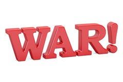 Guerre ! Inscription rouge, 3D illustration stock