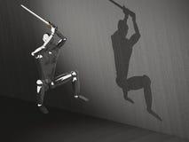 guerreiro 3D que atacking no salto Fotografia de Stock
