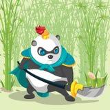 Guerreiro Armor China Panda Character ilustração stock