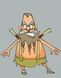 Guerreiro austero do homem do personagem de banda desenhada engraçado com uma barba e um bigode Fotos de Stock