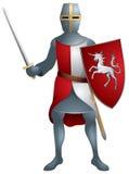 Guerreiro, cavaleiro medieval na armadura Ilustração do Vetor