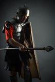 Guerreiro corajoso na armadura com um protetor e uma lança Imagens de Stock