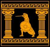 Guerreiro da fantasia com colunas Imagens de Stock Royalty Free