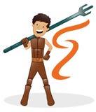 Guerreiro da fantasia com desenhos animados da arma de Trident ilustração royalty free