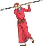Guerreiro da mulher do vetor com uma lança Imagens de Stock