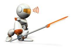 Guerreiro do robô com uma grande lança Imagens de Stock