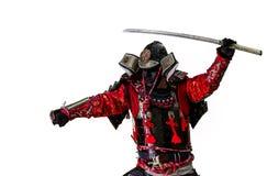 Guerreiro do samurai com a espada isolada no branco Imagens de Stock Royalty Free