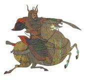 Guerreiro do samurai com o cavalo de equitação da espada Fotos de Stock Royalty Free