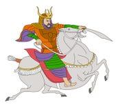 Guerreiro do samurai com o cavalo de equitação da espada Foto de Stock