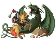 Guerreiro e dragão Foto de Stock