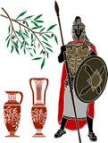 Guerreiro e jarros helénicos antigos Fotografia de Stock Royalty Free