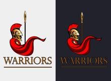 Guerreiro espartano com lança Imagens de Stock