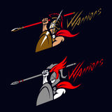 Guerreiro espartano com lança Imagens de Stock Royalty Free