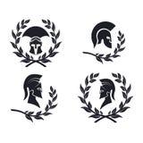 Guerreiro espartano do ícone na grinalda do louro ilustração do vetor