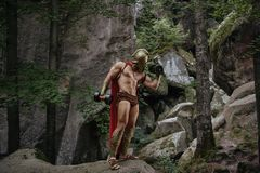 Guerreiro espartano nas madeiras Imagens de Stock Royalty Free