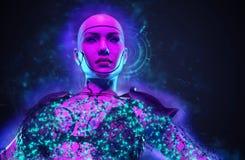 Guerreiro fêmea imaginário do robô fotos de stock