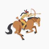 Guerreiro indiano do nativo americano com curva e cavalo de equitação da seta Foto de Stock