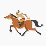 Guerreiro indiano do nativo americano com o cavalo de equitação do machado Fotografia de Stock Royalty Free