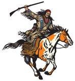 Guerreiro indiano nativo americano que guarda um rifle Fotos de Stock Royalty Free