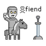 Guerreiro inimigo da arte do pixel em um cavalo Foto de Stock