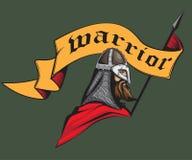 Guerreiro medieval com a bandeira Imagens de Stock