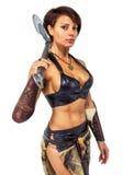 Guerreiro - mulher com um machado imagem de stock