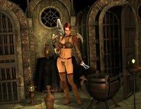 Guerreiro na entrada ao santuário ilustração stock